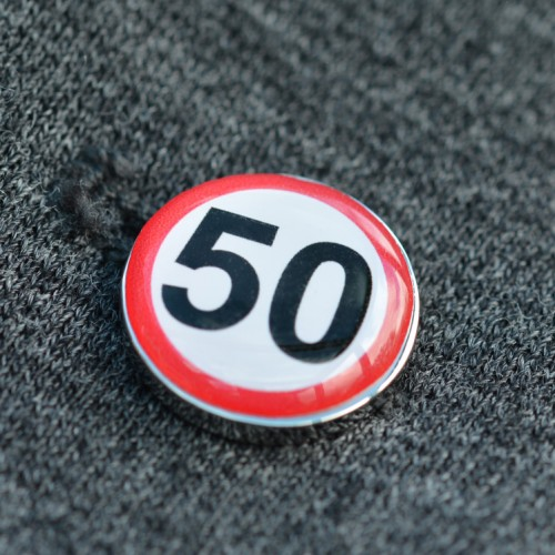 50 MPH Speed Sign Lapel Pin badge