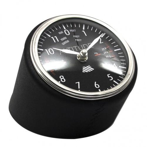 Black Leather Aviation Clock