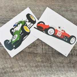 Robin Bark Single Seat Racers Greetings Card