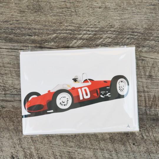 Robin Bark Single Seat Racers Greetings Card