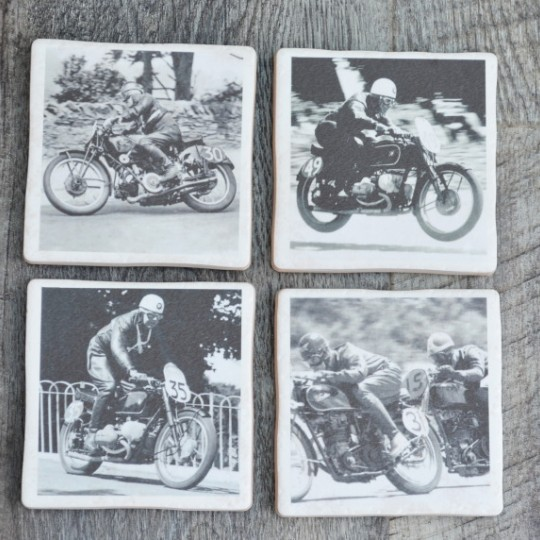 TT Racers set of four Black & White Coasters