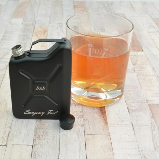 Personalised Petrol Can Black Hip Flask