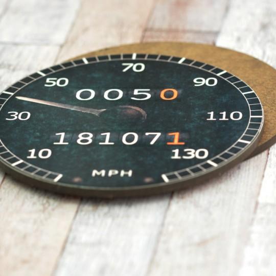 Personalised Black Speedometer Coaster