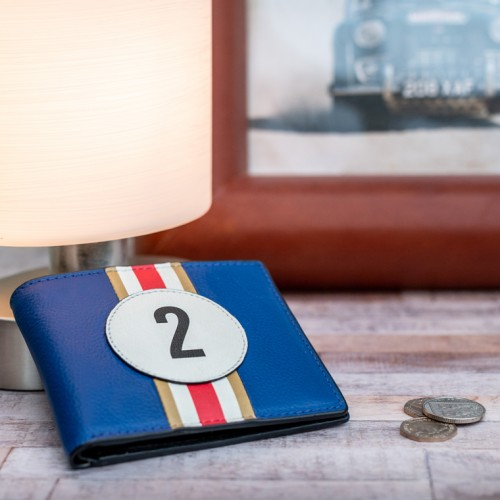 No 2 Blue Racing Stripe Wallet
