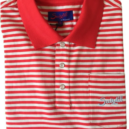 Suixtil Pescara Polo Shirt Red Stripe