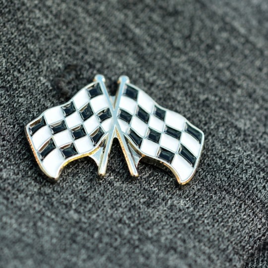 Chequer Flag Lapel Pin badge