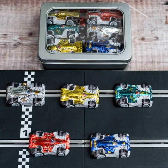 Gift Tin of Chocolate Formula 1 Cars