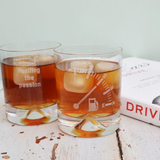 Personalised Etched Fuel Gauge Glass Tumbler
