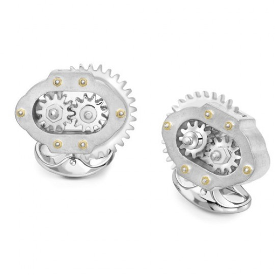 Solid Silver Moving Cog Cufflinks