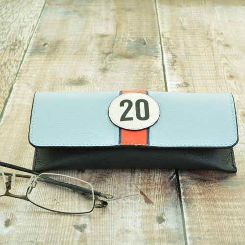 No 20 Blue Racing Stripe Glasses Case