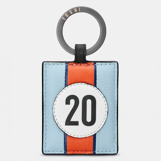 No 20 Blue Racing Stripe Keyring