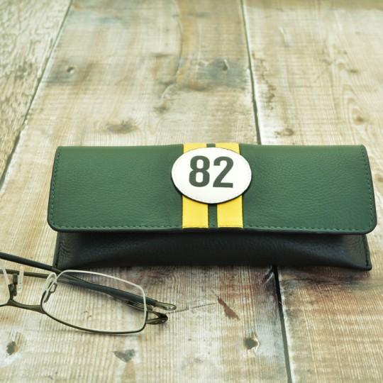 No 82 Green Racing Stripe Glasses Case