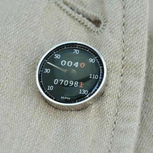 Personalised Black Speedometer Lapel Pin Badge
