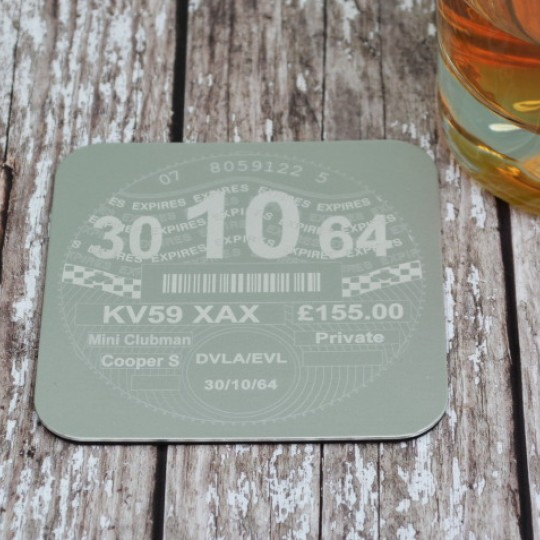 Personalised Tax Disc Coaster