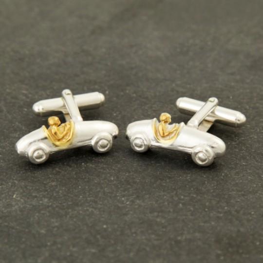 Solid Silver and Gold Bugatti Cufflinks