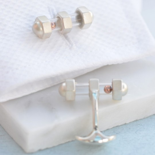 Solid Silver Bolt Cufflinks