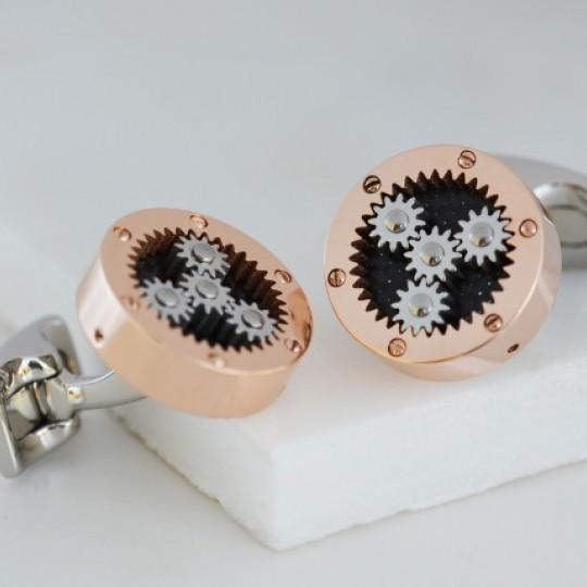 Mechanical Gear Cufflinks Rose Gold