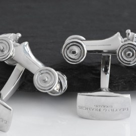 Rhodium Vintage Racing Car Cufflinks