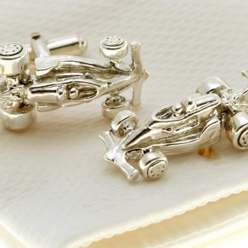 Solid Silver F1 Racing Car Cufflinks