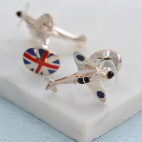 Solid Silver British Spitfire Cufflinks
