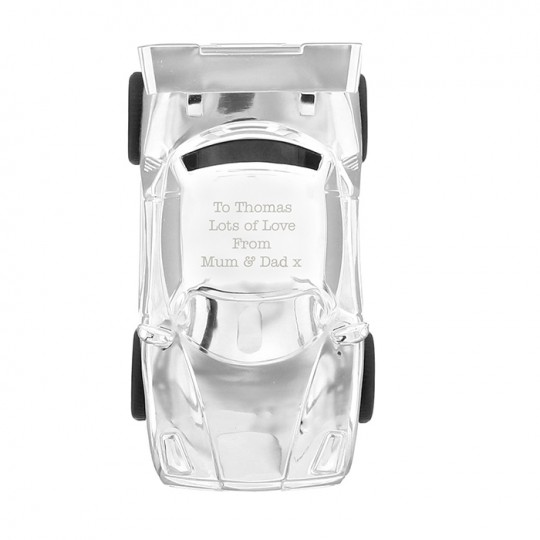 Personalised Silver Plated Racing Car Money Box