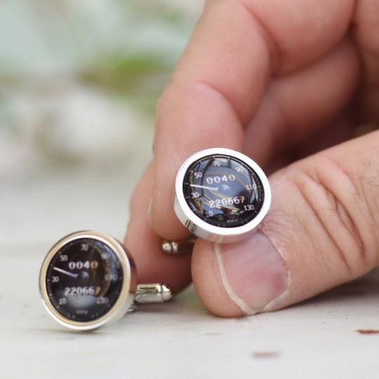 Personalised Black Speedometer Cufflinks