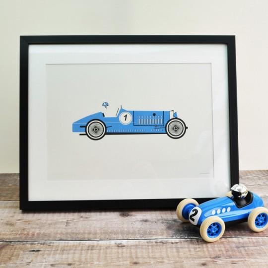 Blue Racing Car Unframed Print