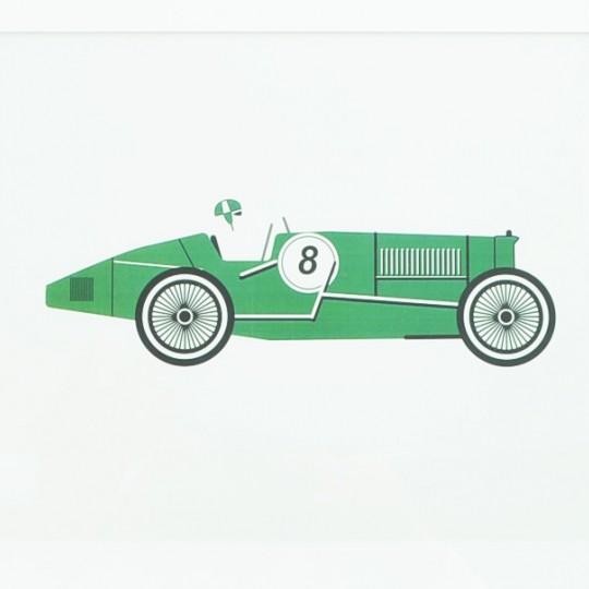Green Racing Car Unframed Print