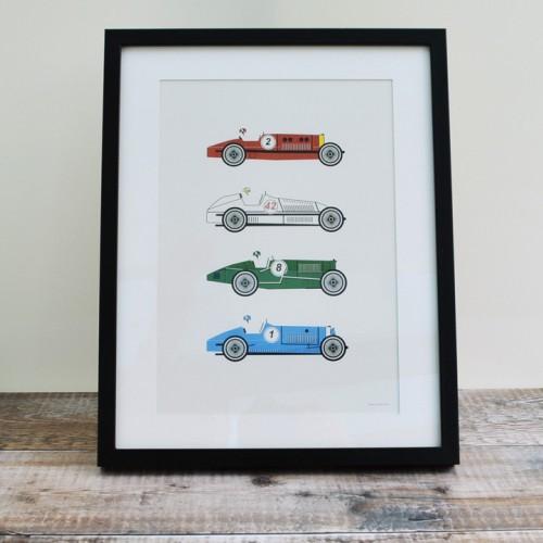 Four Racing Cars Unframed Print