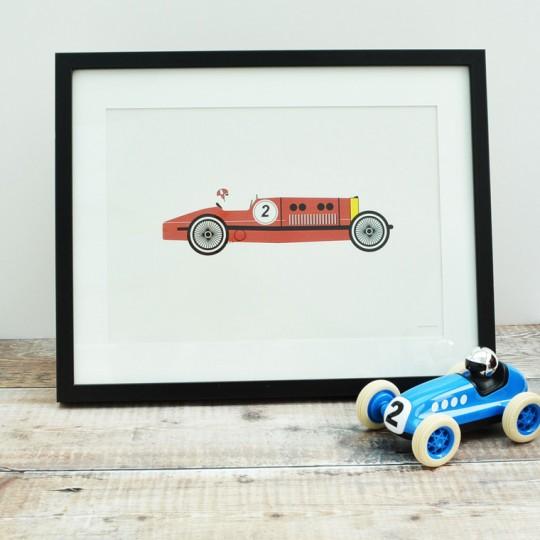 Red Racing Car Unframed Print