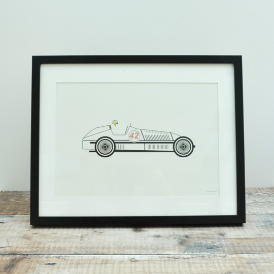 White Racing Car Unframed Print