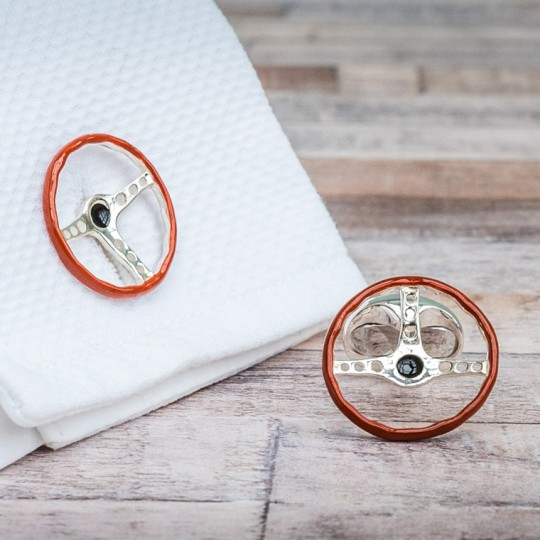 Solid Silver Steering Wheel Cufflinks